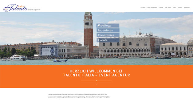 One Page Design – Talento – Italia – Events